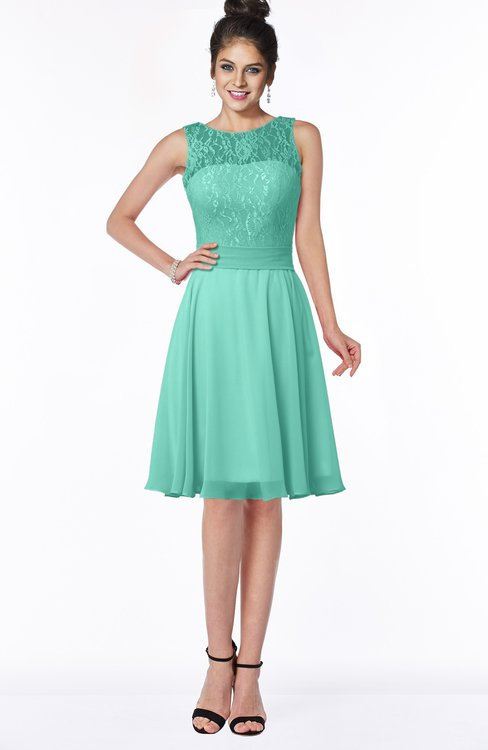 ColsBM Helen Mint Green Glamorous A-line Scoop Zip up Chiffon Sash Bridesmaid Dresses