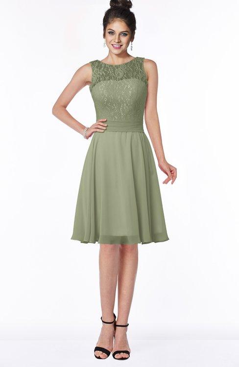 ColsBM Helen Moss Green Glamorous A-line Scoop Zip up Chiffon Sash Bridesmaid Dresses