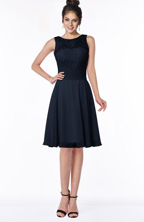ColsBM Helen Navy Blue Glamorous A-line Scoop Zip up Chiffon Sash Bridesmaid Dresses