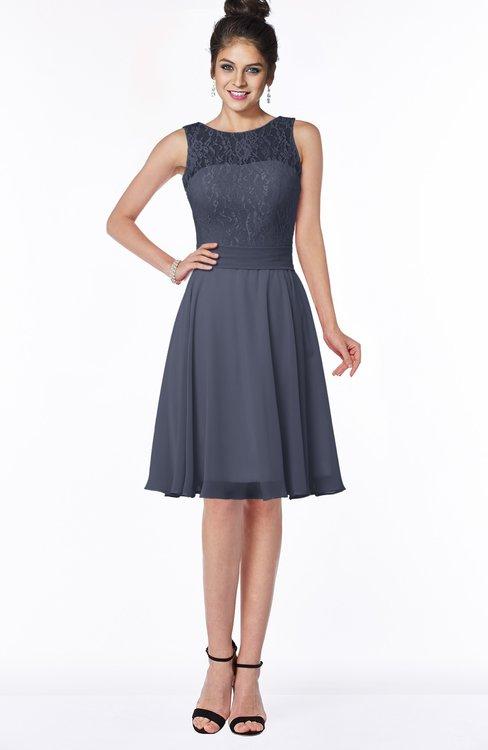 ColsBM Helen Nightshadow Blue Glamorous A-line Scoop Zip up Chiffon Sash Bridesmaid Dresses