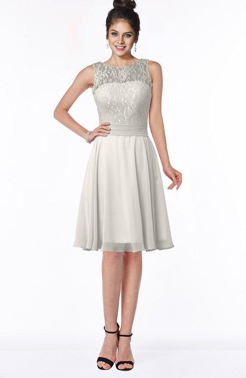 ColsBM Helen Off White Glamorous A-line Scoop Zip up Chiffon Sash Bridesmaid Dresses