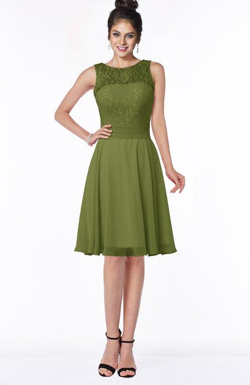 ColsBM Helen Olive Green Glamorous A-line Scoop Zip up Chiffon Sash Bridesmaid Dresses