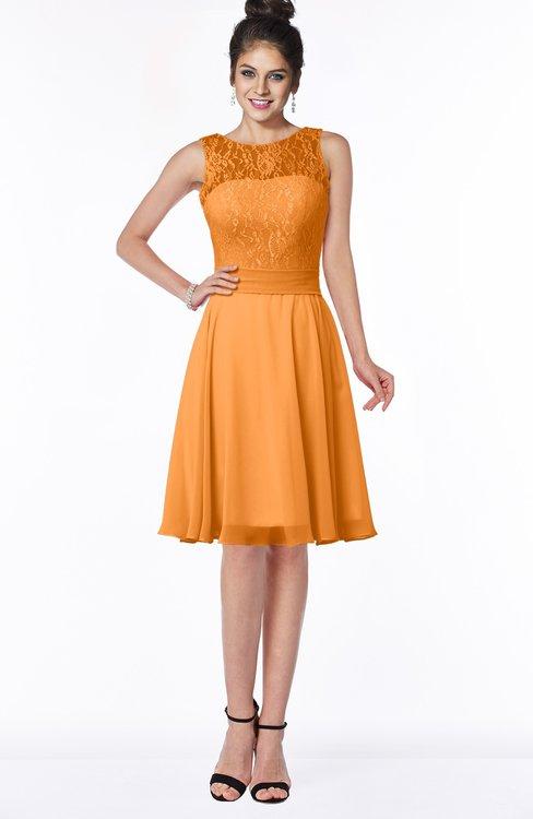ColsBM Helen Orange Glamorous A-line Scoop Zip up Chiffon Sash Bridesmaid Dresses