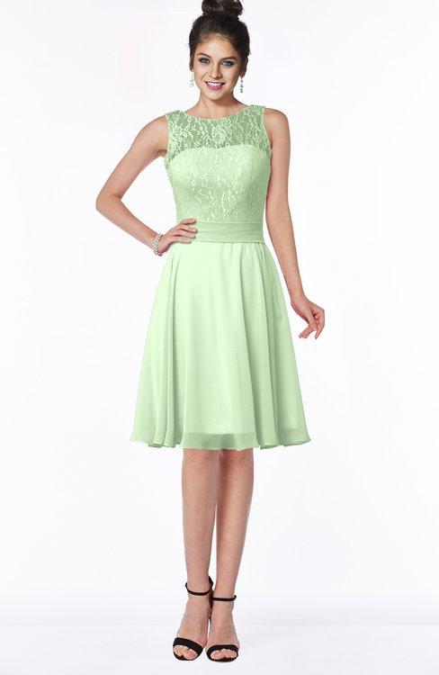 ColsBM Helen Pale Green Glamorous A-line Scoop Zip up Chiffon Sash Bridesmaid Dresses