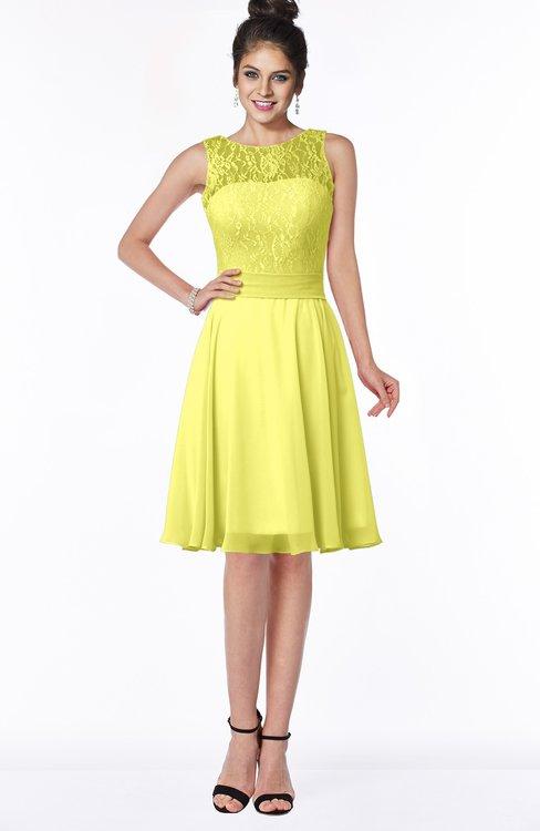 ColsBM Helen Pale Yellow Glamorous A-line Scoop Zip up Chiffon Sash Bridesmaid Dresses