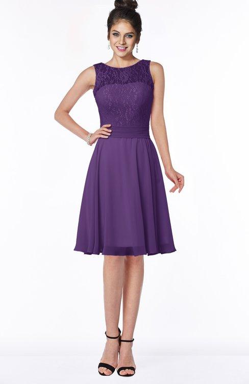 ColsBM Helen Pansy Glamorous A-line Scoop Zip up Chiffon Sash Bridesmaid Dresses
