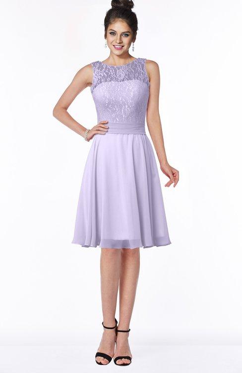 ColsBM Helen Pastel Lilac Glamorous A-line Scoop Zip up Chiffon Sash Bridesmaid Dresses
