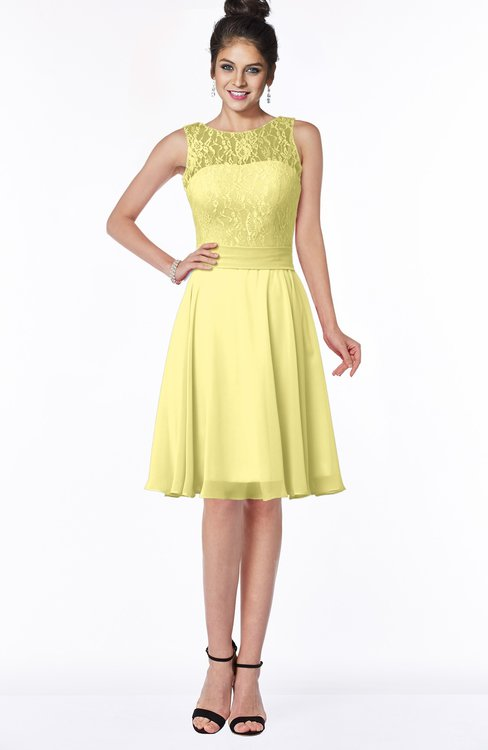ColsBM Helen Pastel Yellow Glamorous A-line Scoop Zip up Chiffon Sash Bridesmaid Dresses