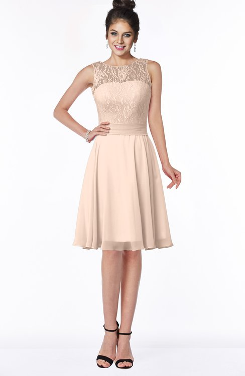ColsBM Helen Peach Puree Glamorous A-line Scoop Zip up Chiffon Sash Bridesmaid Dresses