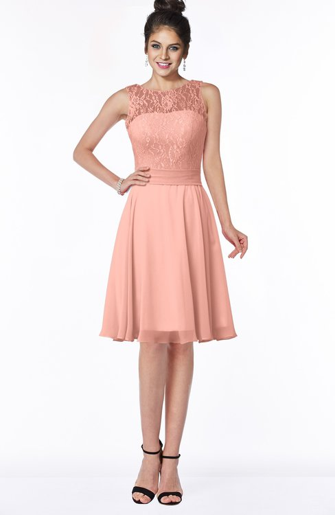 ColsBM Helen Peach Glamorous A-line Scoop Zip up Chiffon Sash Bridesmaid Dresses