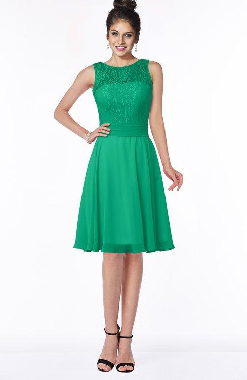 ColsBM Helen Pepper Green Glamorous A-line Scoop Zip up Chiffon Sash Bridesmaid Dresses