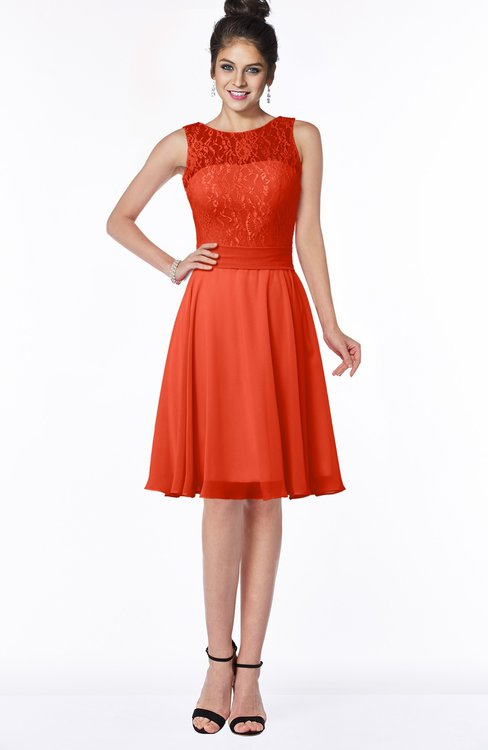 ColsBM Helen Persimmon Glamorous A-line Scoop Zip up Chiffon Sash Bridesmaid Dresses