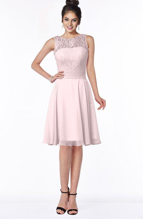 ColsBM Helen Petal Pink Glamorous A-line Scoop Zip up Chiffon Sash Bridesmaid Dresses