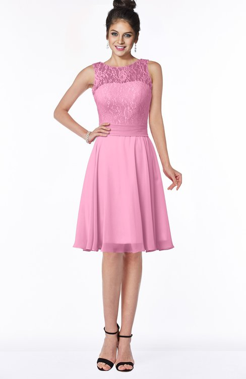 ColsBM Helen Pink Glamorous A-line Scoop Zip up Chiffon Sash Bridesmaid Dresses