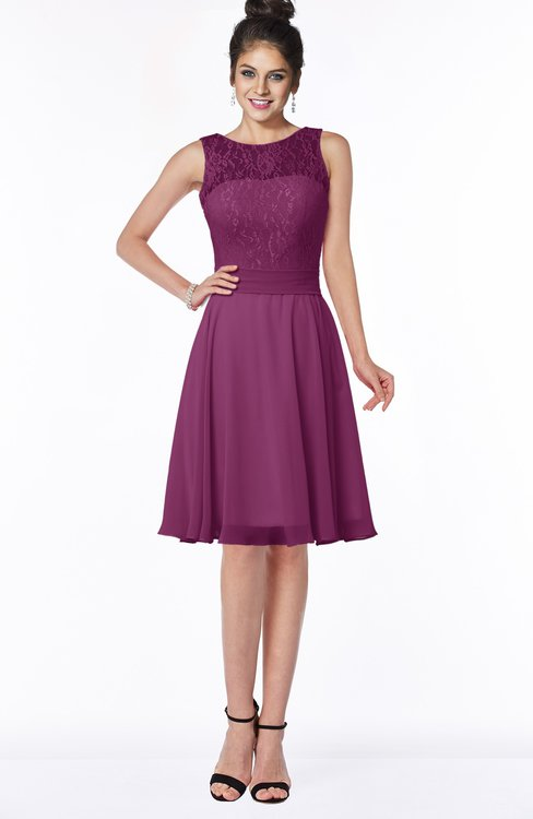 ColsBM Helen Raspberry Glamorous A-line Scoop Zip up Chiffon Sash Bridesmaid Dresses