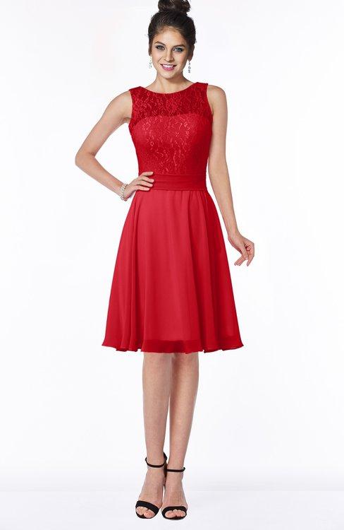ColsBM Helen Red Glamorous A-line Scoop Zip up Chiffon Sash Bridesmaid Dresses