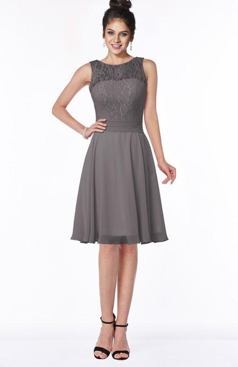 ColsBM Helen Ridge Grey Glamorous A-line Scoop Zip up Chiffon Sash Bridesmaid Dresses