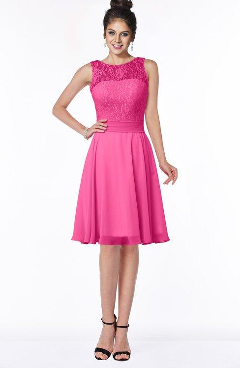 ColsBM Helen Rose Pink Glamorous A-line Scoop Zip up Chiffon Sash Bridesmaid Dresses