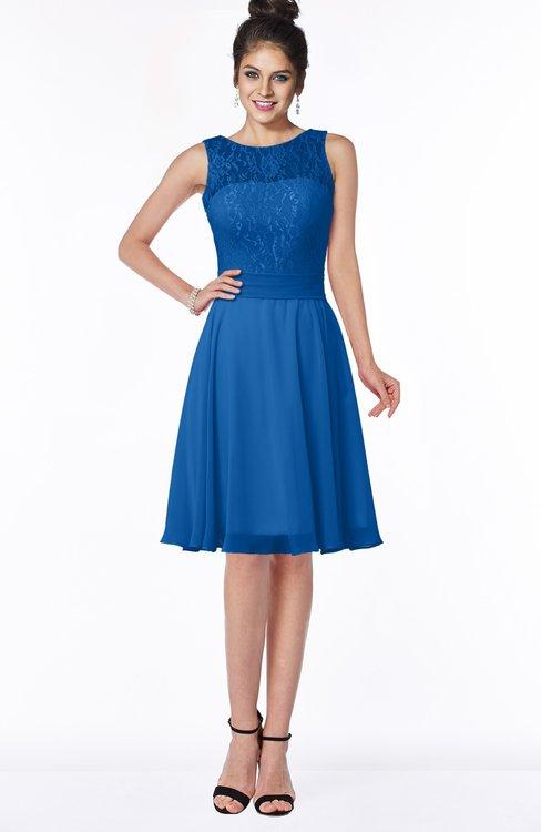 ColsBM Helen Royal Blue Glamorous A-line Scoop Zip up Chiffon Sash Bridesmaid Dresses