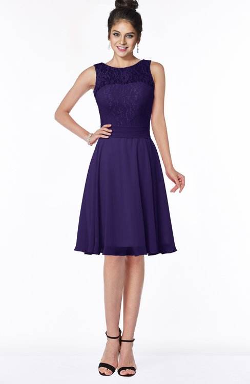 ColsBM Helen Royal Purple Glamorous A-line Scoop Zip up Chiffon Sash Bridesmaid Dresses