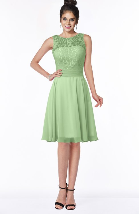 ColsBM Helen Sage Green Glamorous A-line Scoop Zip up Chiffon Sash Bridesmaid Dresses