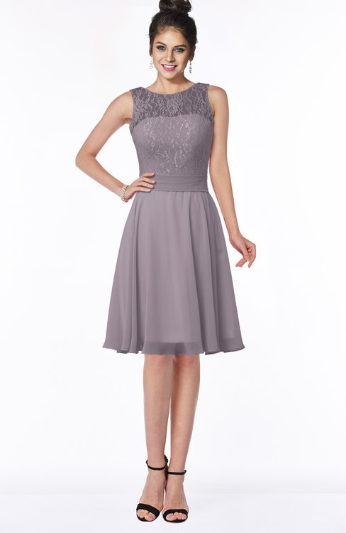 ColsBM Helen Sea Fog Glamorous A-line Scoop Zip up Chiffon Sash Bridesmaid Dresses