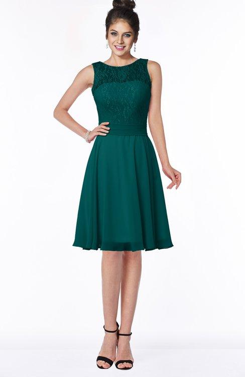 ColsBM Helen Shaded Spruce Glamorous A-line Scoop Zip up Chiffon Sash Bridesmaid Dresses