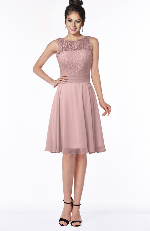 ColsBM Helen Silver Pink Glamorous A-line Scoop Zip up Chiffon Sash Bridesmaid Dresses