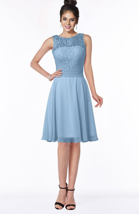 ColsBM Helen Sky Blue Glamorous A-line Scoop Zip up Chiffon Sash Bridesmaid Dresses