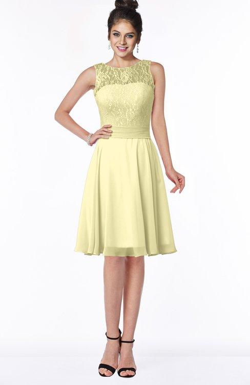 ColsBM Helen Soft Yellow Glamorous A-line Scoop Zip up Chiffon Sash Bridesmaid Dresses