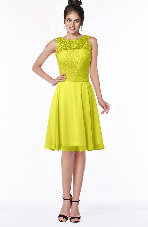 ColsBM Helen Sulphur Spring Glamorous A-line Scoop Zip up Chiffon Sash Bridesmaid Dresses