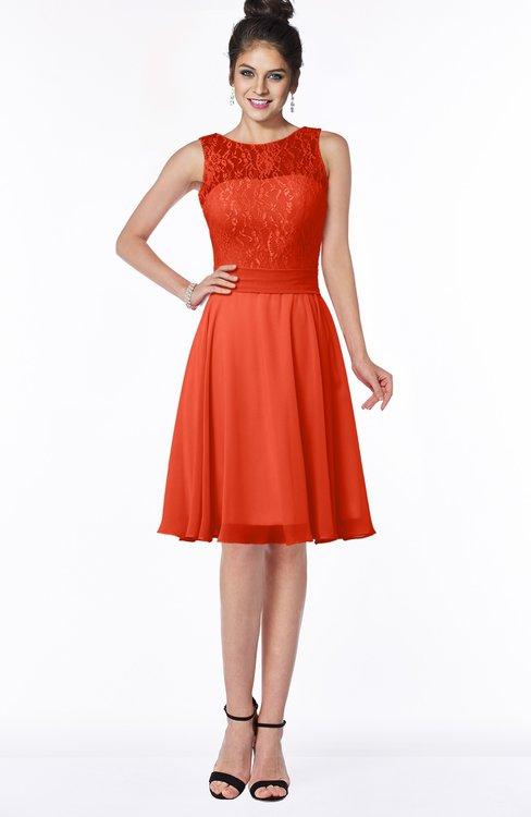 ColsBM Helen Tangerine Tango Glamorous A-line Scoop Zip up Chiffon Sash Bridesmaid Dresses