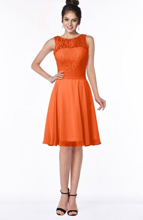 ColsBM Helen Tangerine Glamorous A-line Scoop Zip up Chiffon Sash Bridesmaid Dresses