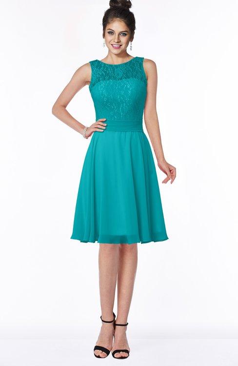 ColsBM Helen Teal Glamorous A-line Scoop Zip up Chiffon Sash Bridesmaid Dresses