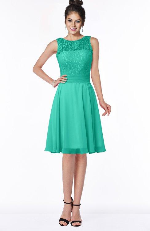ColsBM Helen Viridian Green Glamorous A-line Scoop Zip up Chiffon Sash Bridesmaid Dresses