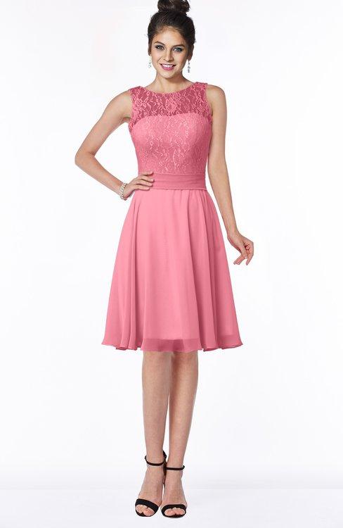 ColsBM Helen Watermelon Glamorous A-line Scoop Zip up Chiffon Sash Bridesmaid Dresses