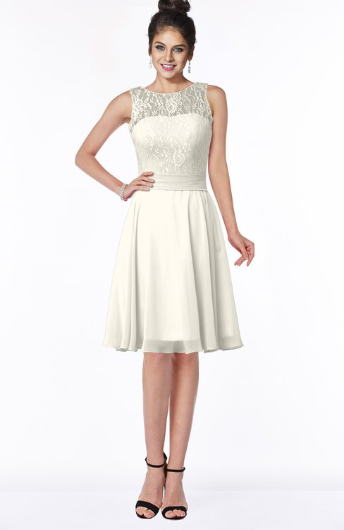 ColsBM Helen Whisper White Glamorous A-line Scoop Zip up Chiffon Sash Bridesmaid Dresses