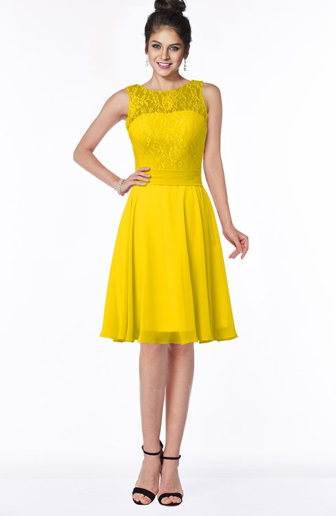 ColsBM Helen Yellow Glamorous A-line Scoop Zip up Chiffon Sash Bridesmaid Dresses