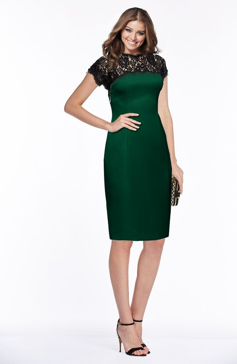 ColsBM Greta Alpine Green Elegant Sheath Short Sleeve Zip up Satin Lace Bridesmaid Dresses