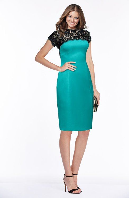 ColsBM Greta Ceramic Elegant Sheath Short Sleeve Zip up Satin Lace Bridesmaid Dresses