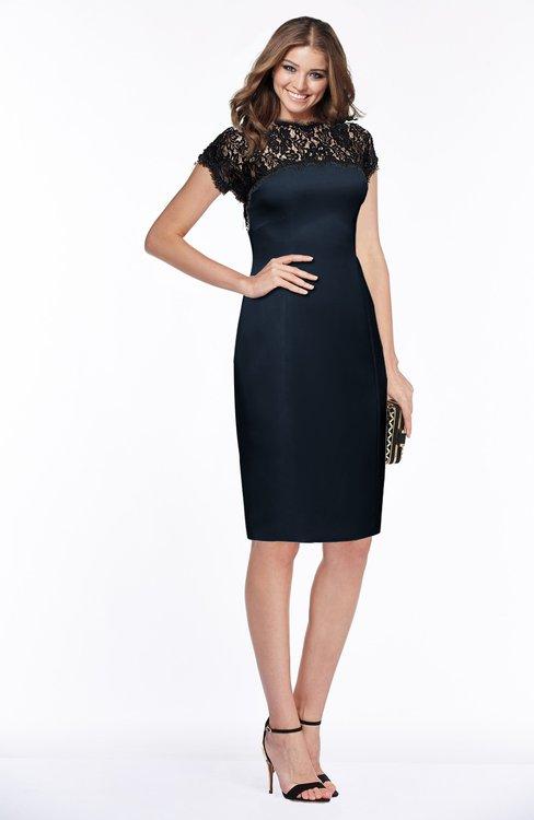 ColsBM Greta Navy Blue Elegant Sheath Short Sleeve Zip up Satin Lace Bridesmaid Dresses