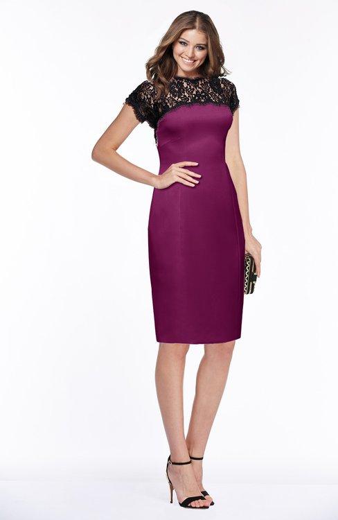 ColsBM Greta Raspberry Elegant Sheath Short Sleeve Zip up Satin Lace Bridesmaid Dresses