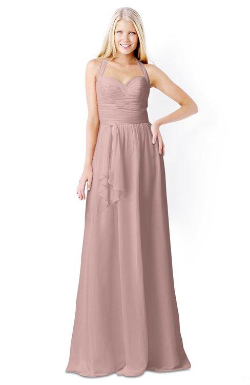 ColsBM Kaelyn Bridal Rose Modest Trumpet Elbow Length Sleeve Zip up Chiffon Floor Length Bridesmaid Dresses