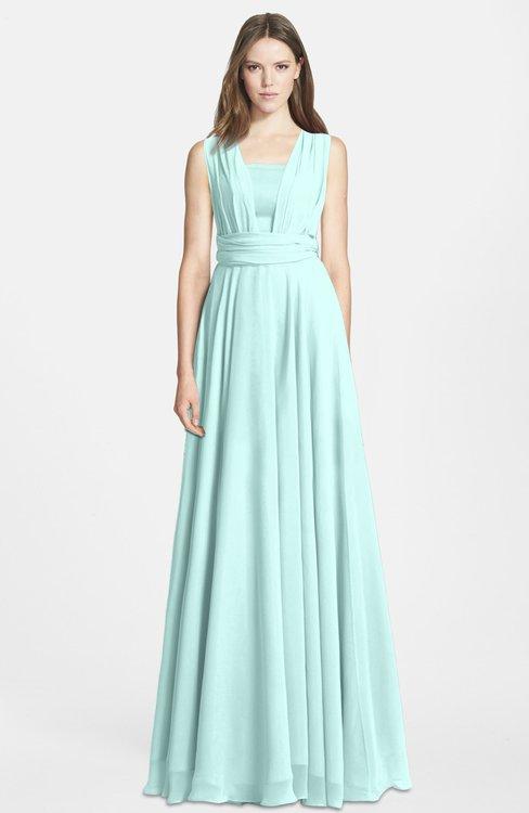 ColsBM Nala Blue Glass Simple Wide Square Sleeveless Zip up Chiffon Floor Length Bridesmaid Dresses