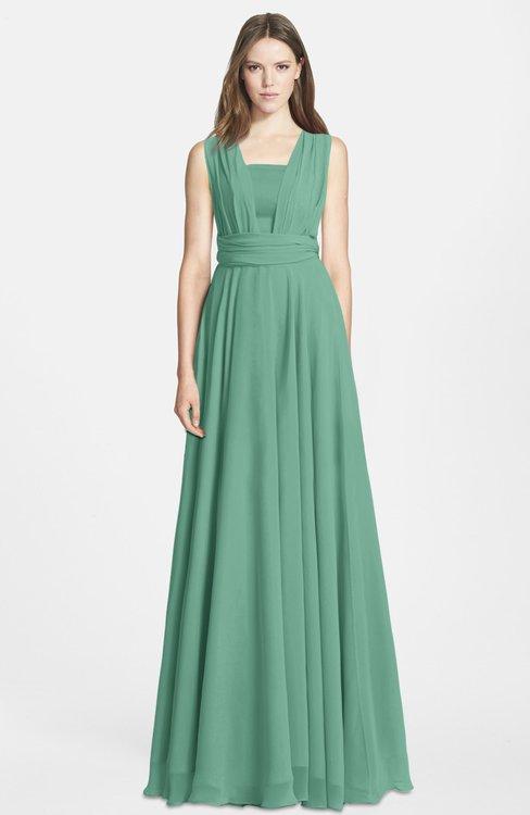 ColsBM Nala Bristol Blue Simple Wide Square Sleeveless Zip up Chiffon Floor Length Bridesmaid Dresses