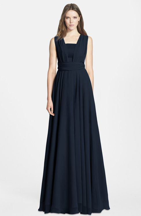 ColsBM Nala Navy Blue Simple Wide Square Sleeveless Zip up Chiffon Floor Length Bridesmaid Dresses