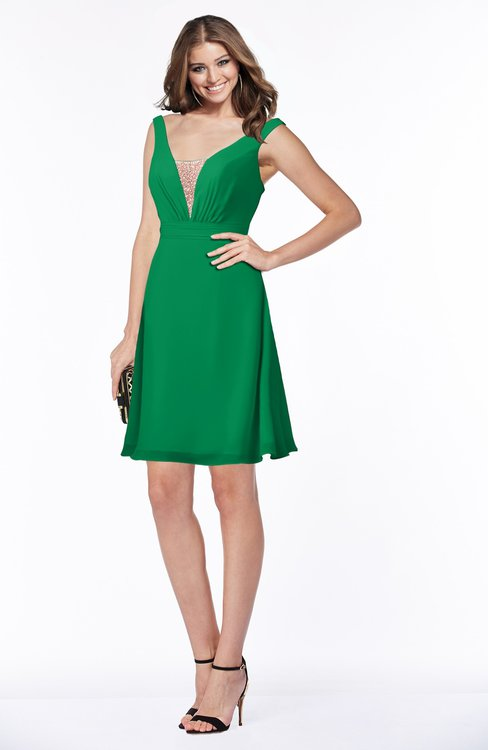 884e4cdd02af ColsBM Laurel Green Glamorous Fit-n-Flare V-neck Sleeveless Beaded  Bridesmaid Dresses