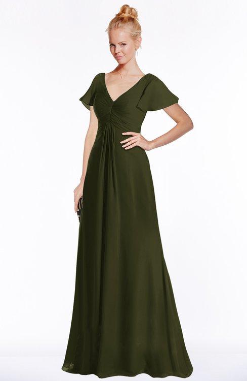 ColsBM Ellen Beech Modern A-line V-neck Short Sleeve Zip up Floor Length Bridesmaid Dresses