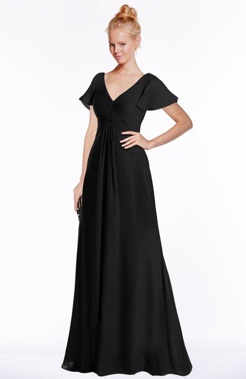 ColsBM Ellen Black Modern A-line V-neck Short Sleeve Zip up Floor Length Bridesmaid Dresses