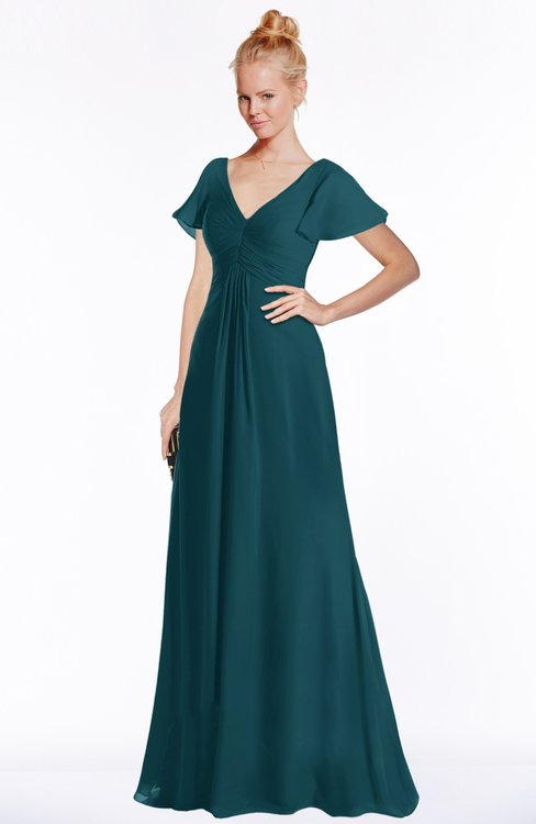 ColsBM Ellen Blue Green Modern A-line V-neck Short Sleeve Zip up Floor Length Bridesmaid Dresses